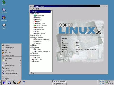 Corel Linux desktop