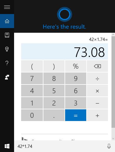 How to access Cortana's secret calculator