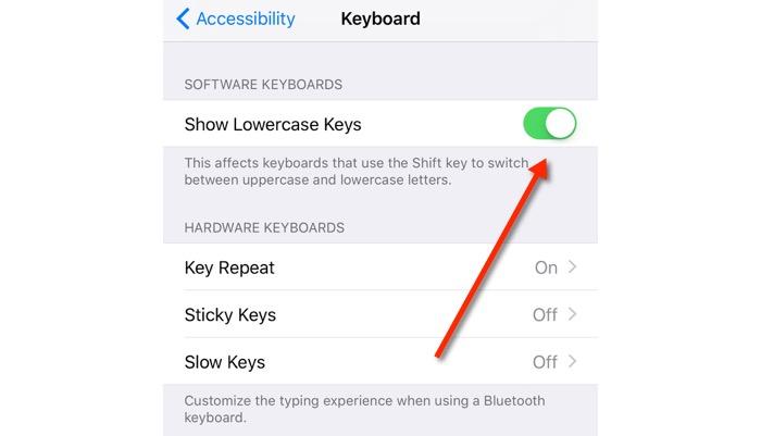Show Lowercase Keys