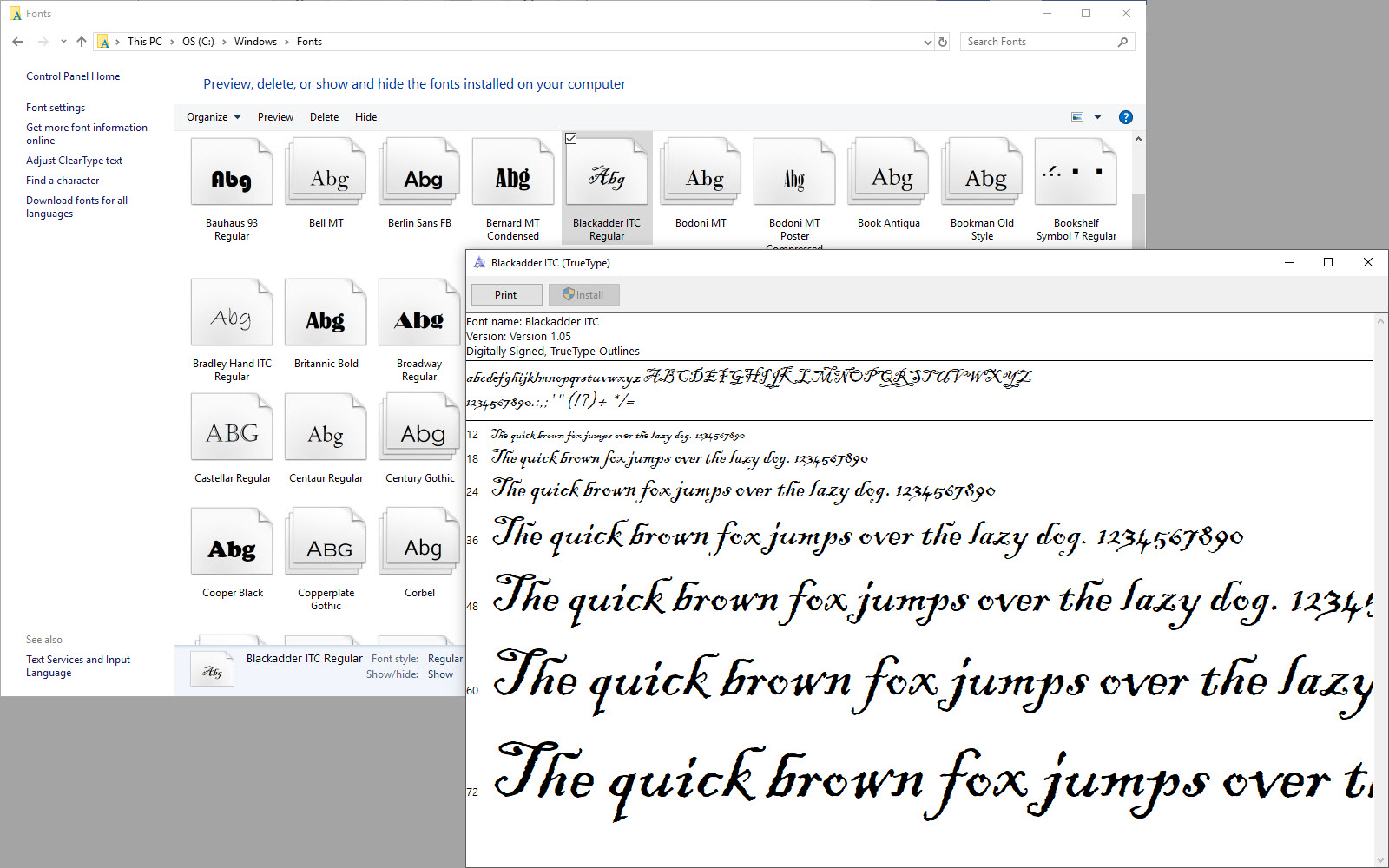 Windows 10 tip How to install a new font and manage a font ...