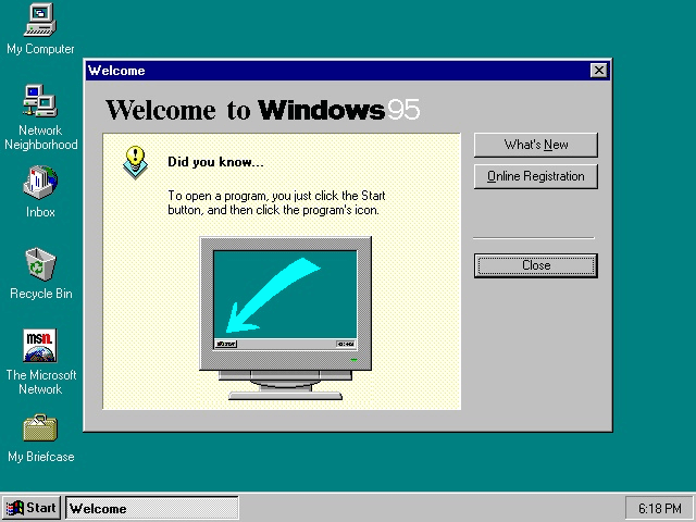 1995: Windows 95 and IE 1.0