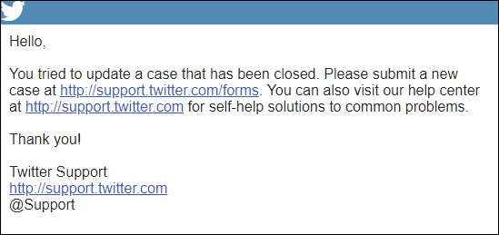 Twitter closes the case and user remains locked out
