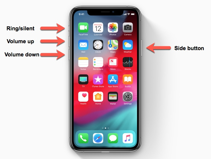 iPhone XS/iPhone XR button layout