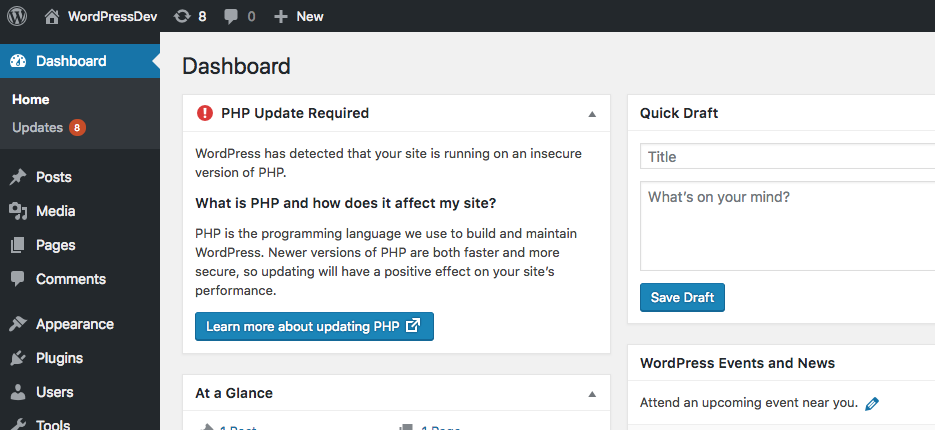 WordPress warning shown to users running an oudated PHP version