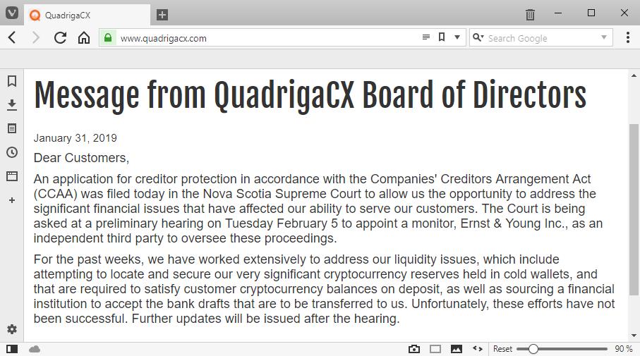 QuadrigaCX homepage
