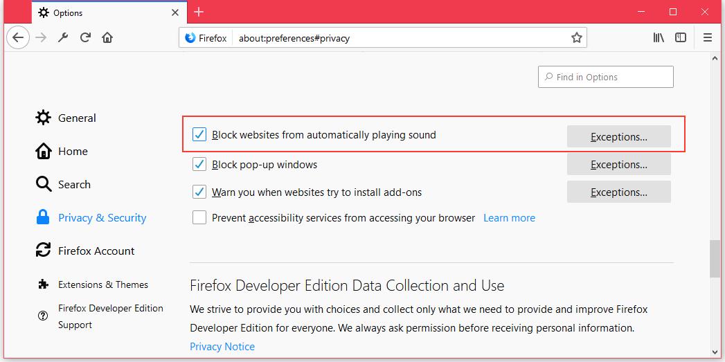 Firefox 66 autoplay blocking settings