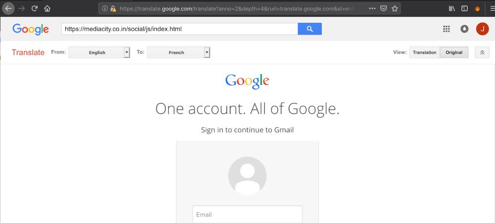 Google Translate phishing