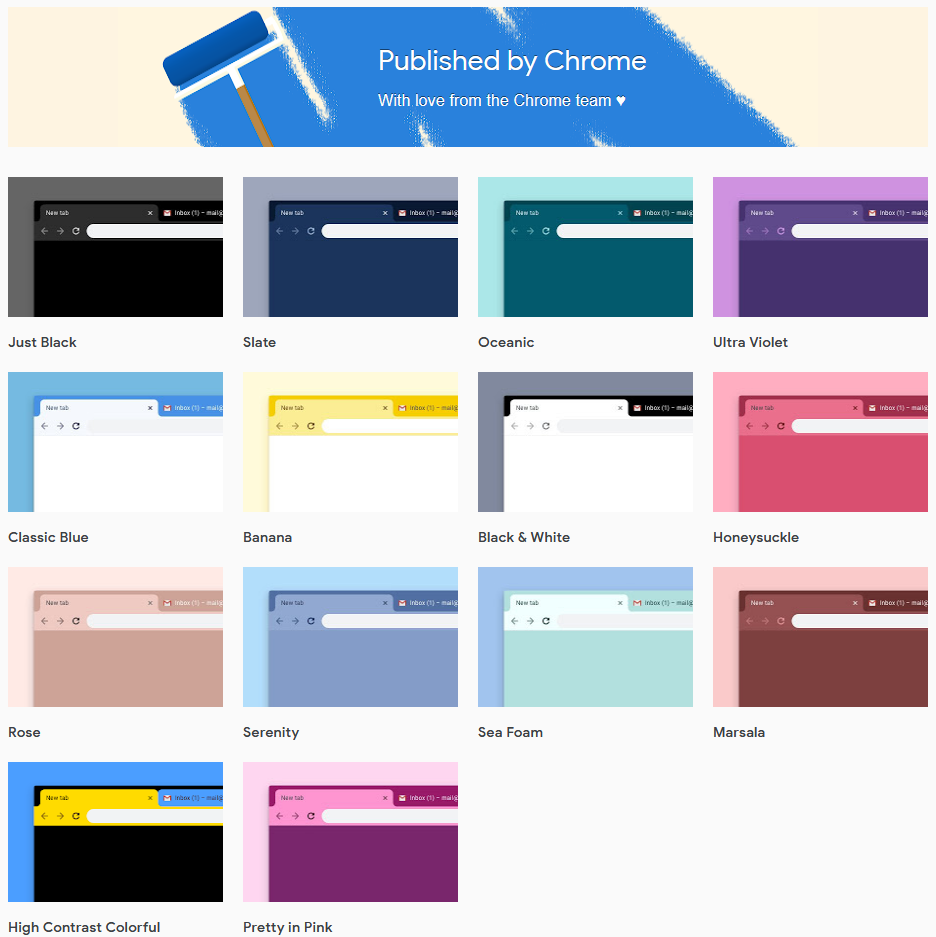 Google Chrome official themes