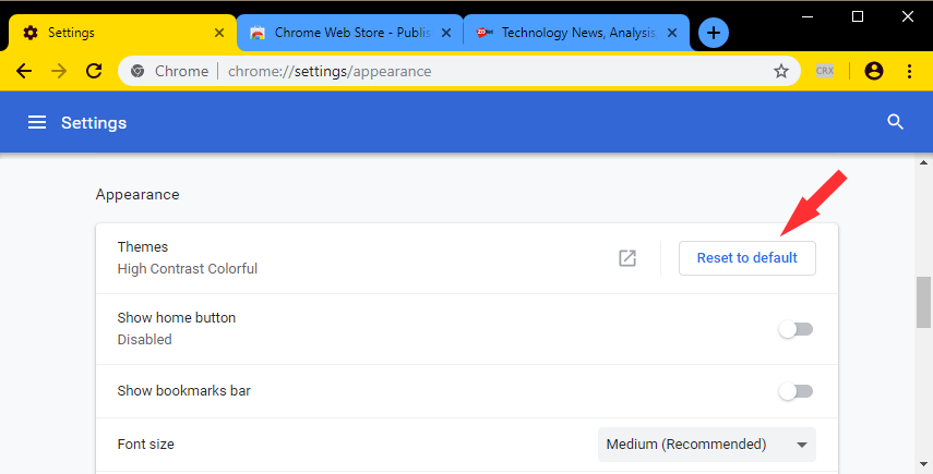 Chrome appearance settings