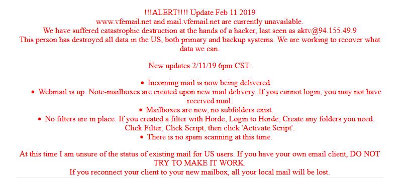 Message on VFEmail website