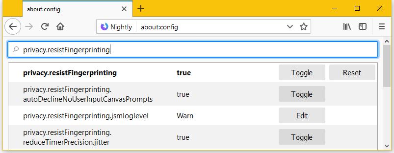 Firefox fingerprinting enabled