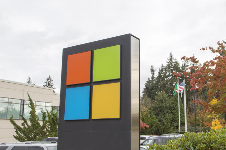 Microsoft Corporation logo outside the Executive Briefing Center at company's Redmond campus