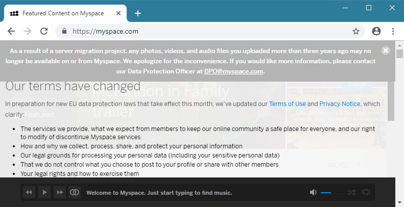 MySpace message on site confirming the site has lost user data