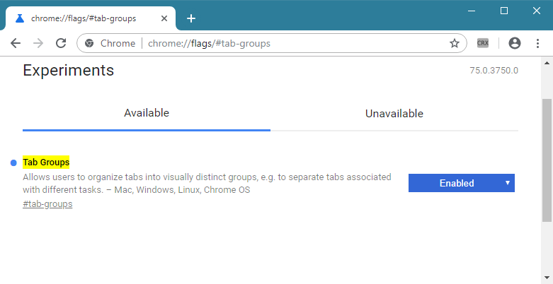 Chrome Tab Groups flag
