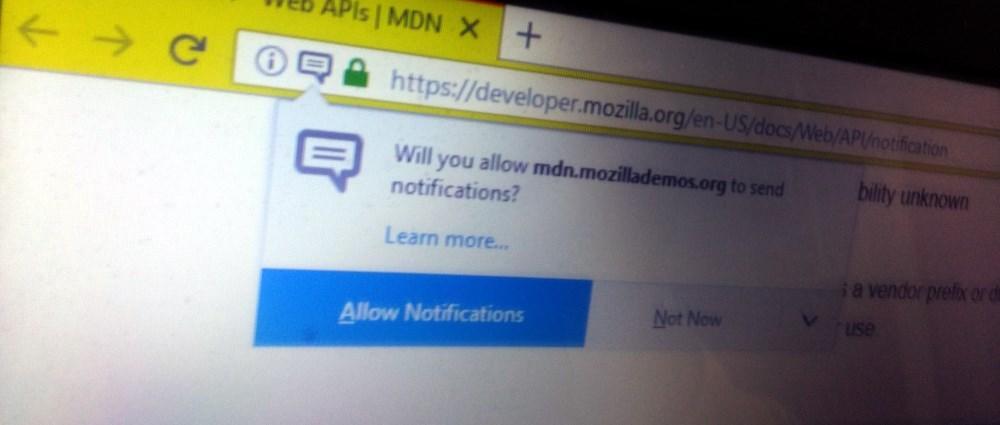 Firefox Push Notification Permission Request