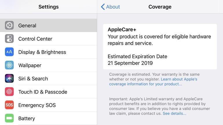 iOS 12.2 warranty information
