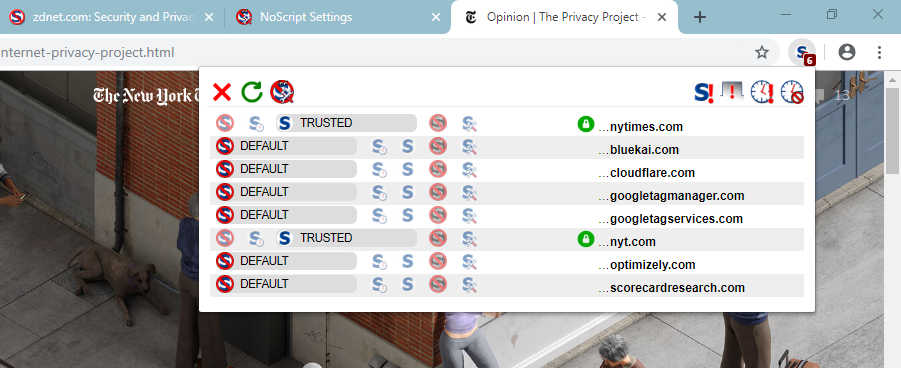 NoScript per-page popup panel