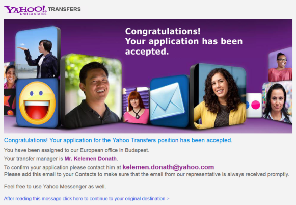 Bayrob's fake Yahoo Transfers website