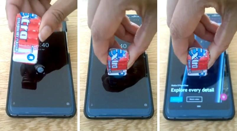 Nokia 9 smartphone unlocked with a pack of gum