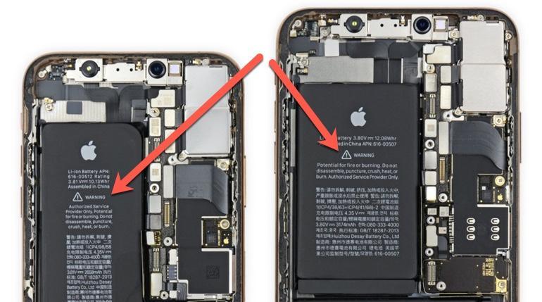 Warnings printed on iPhone batteries
