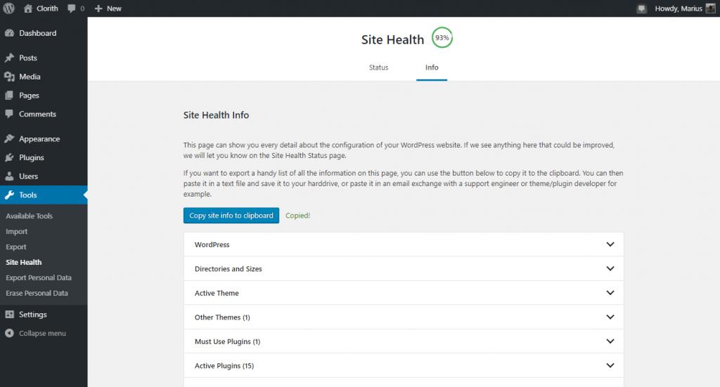 WordPress Site Health Info