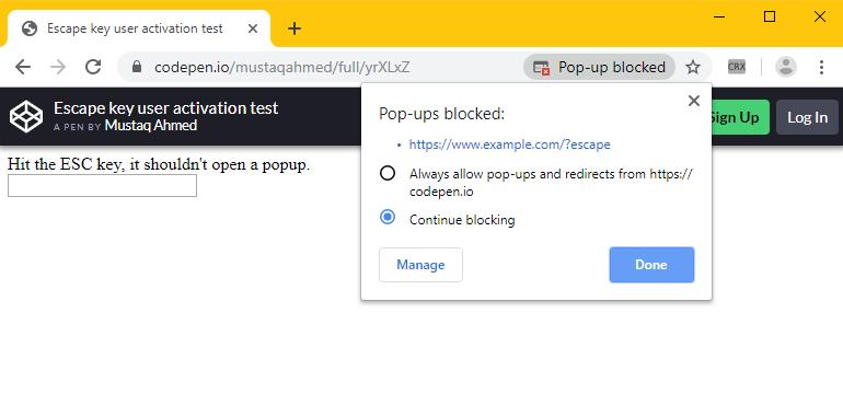 Chrome Escape key