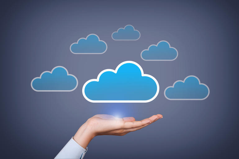 Cloud Computing Concept on Touch Screen