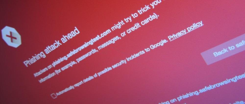 Google Safe Browsing phishing alert