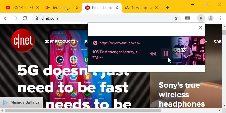 Google Chrome Play/Pause button toolbar