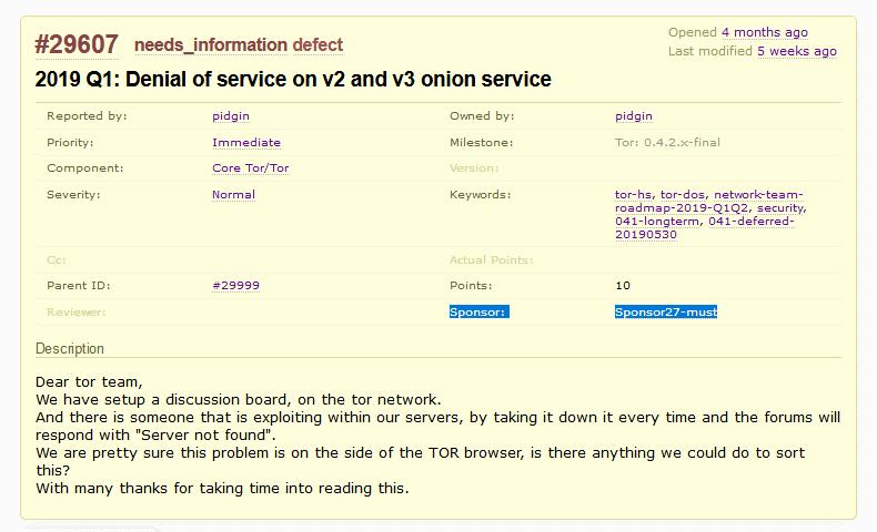 Tor DoS bug sponsor