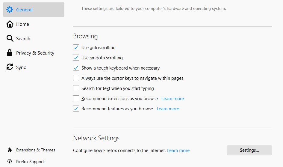 DoH section in Firefox settings