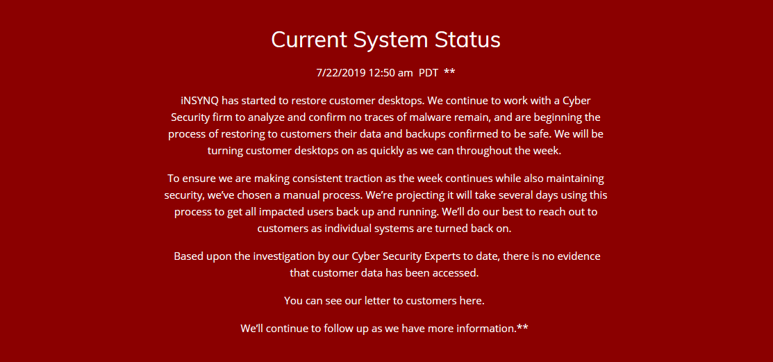 iNSYNQ status update