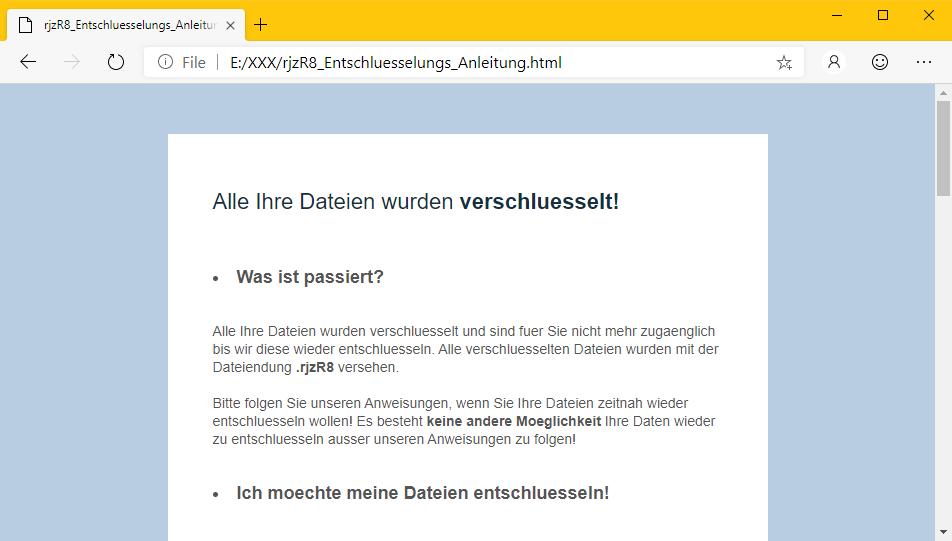 GermanWiper ransom note