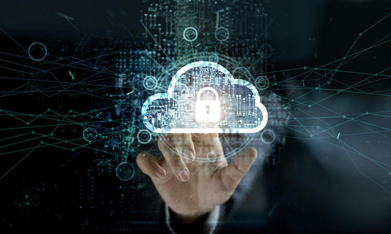businessman touching Cloud with Padlock icon on network connection, digital background. Cloud computing and network security concept