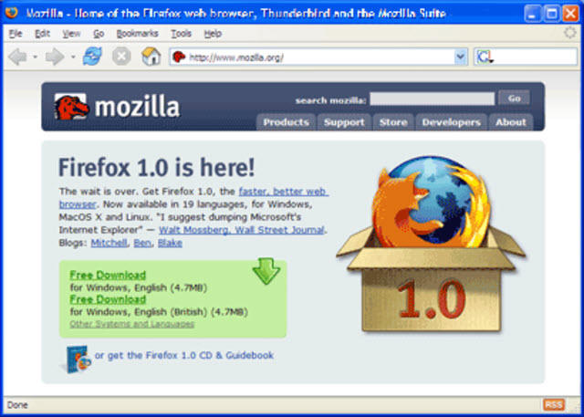 2004: Mozilla Firefox offers a major challenge to IE's dominance