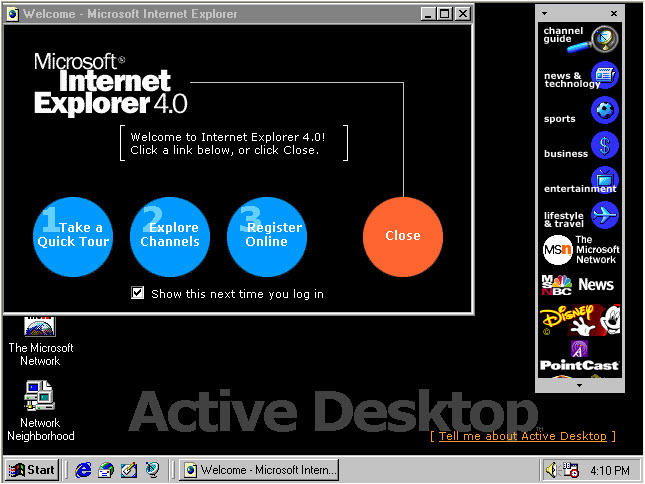 1997: IE4 ties the Active Desktop tightly to Windows