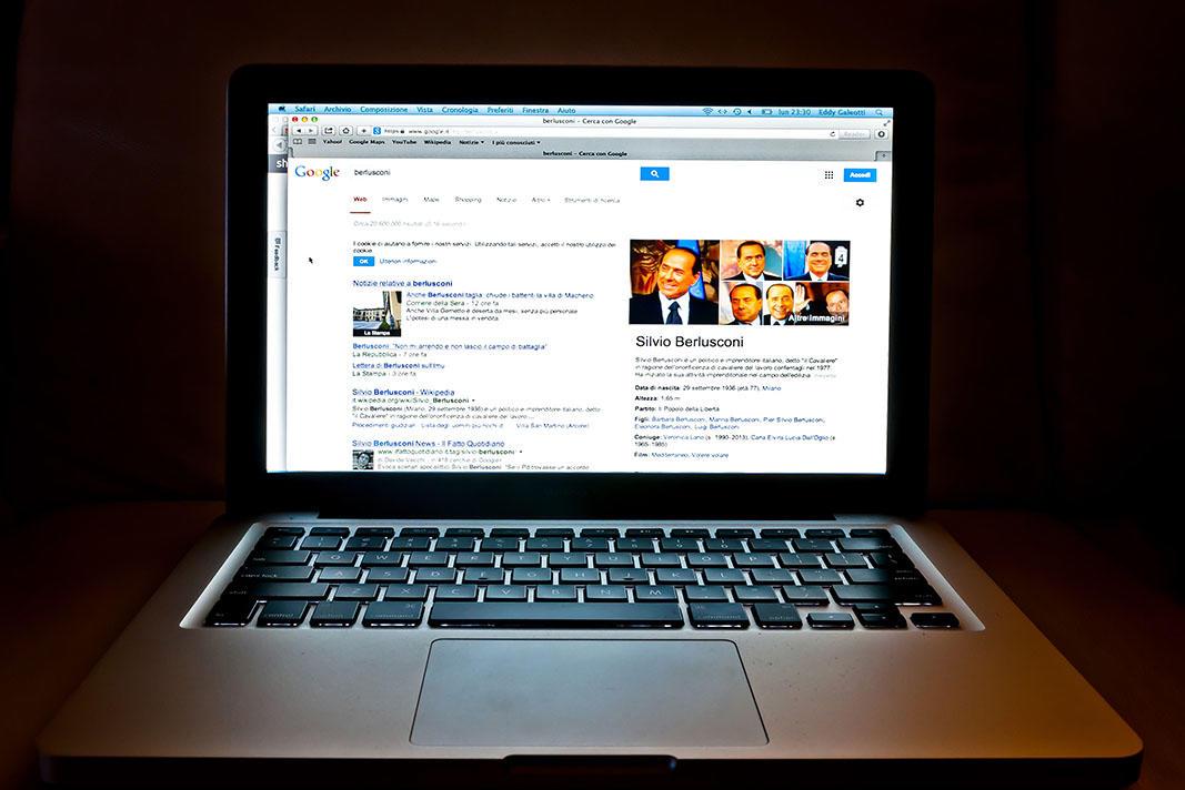 Google web search related to Silvio Berlusconi