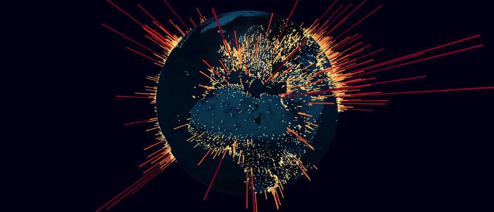 DDoS botnet internet globe map