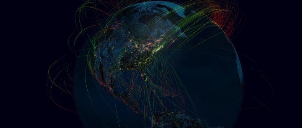 DDoS Globe Internet Map Traffic
