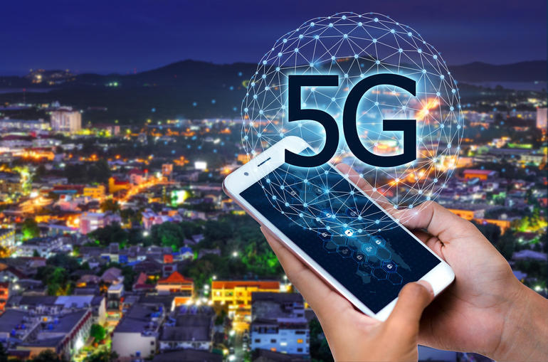 Business people use global communication phones in the 5g system