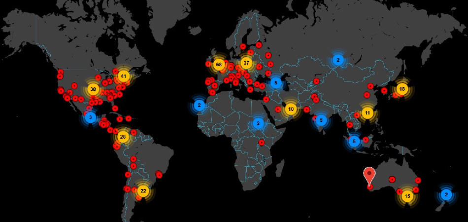 botnet world map