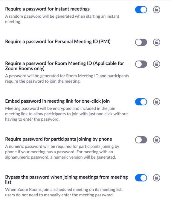 Zoom Password Settings