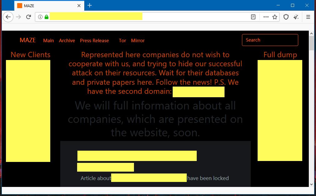 Maze ransomware leak site