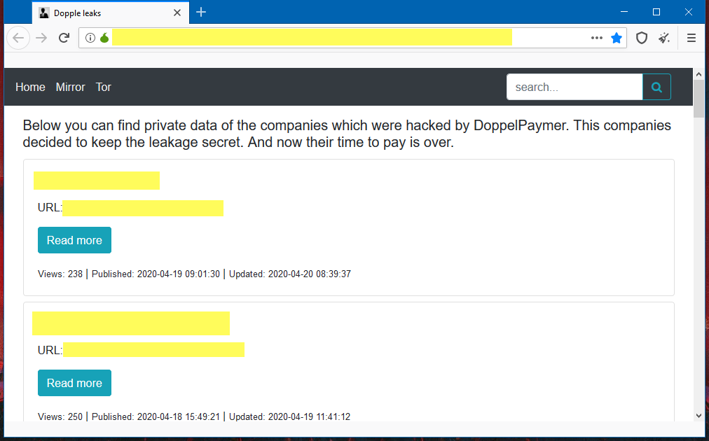 DopplePaymer ransomware leak site