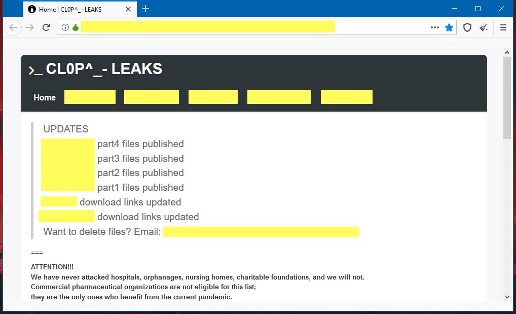 Clop ransomware leak site