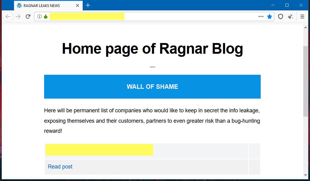 RagnarLocker ransomware leak site