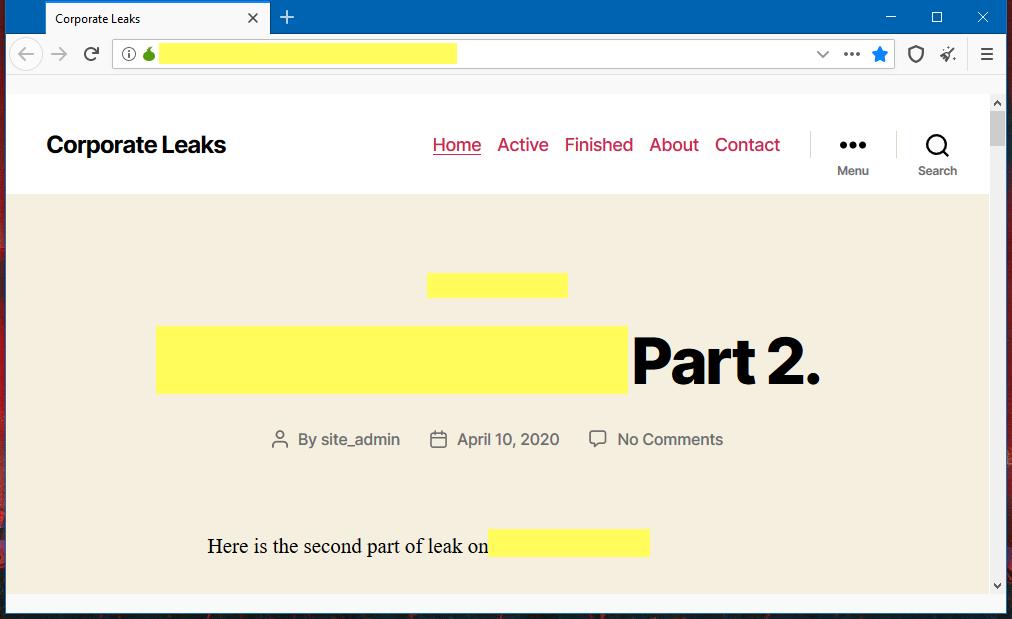 Nefilim ransomware leak site