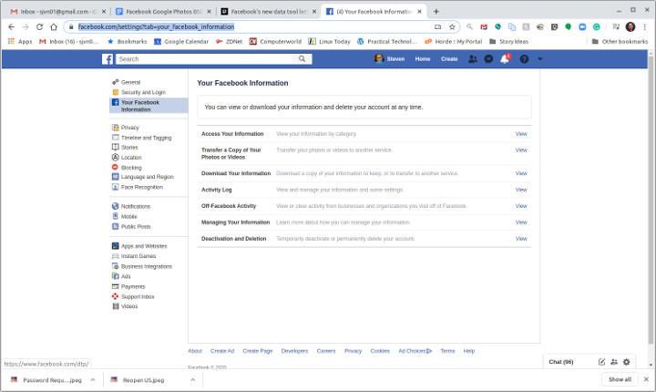 Facebook Information page