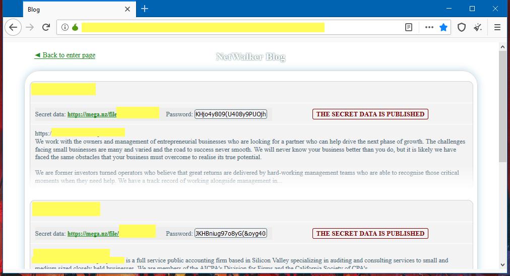 Netwalker ransomware leak site