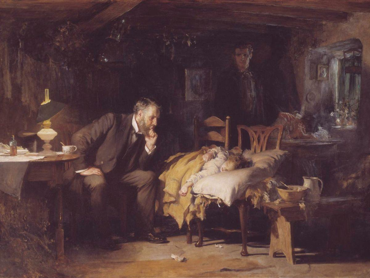 The Doctor exhibited 1891 by Sir Luke Fildes 1843-1927